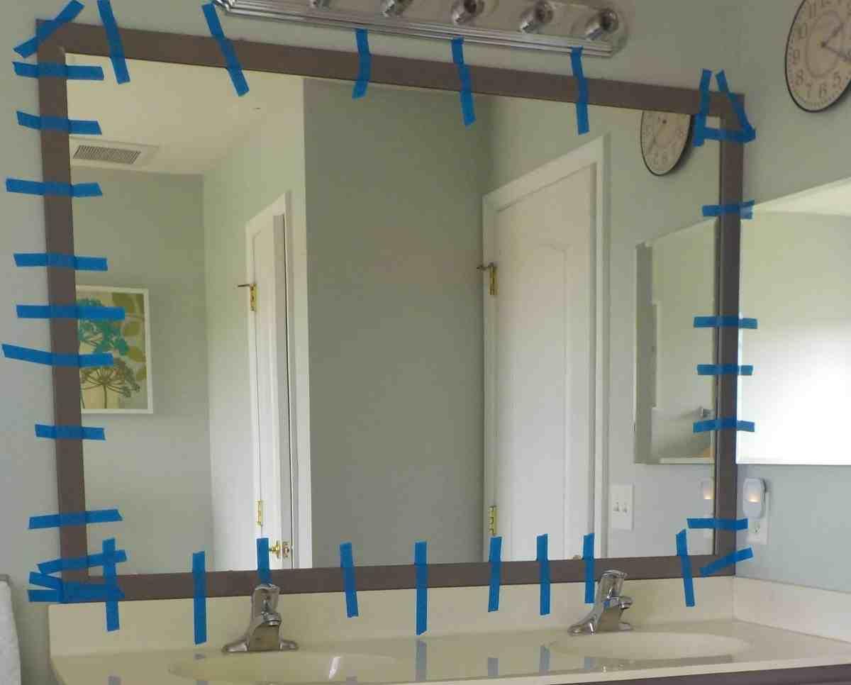 diy frame for builder grade mirror, mirror frame
