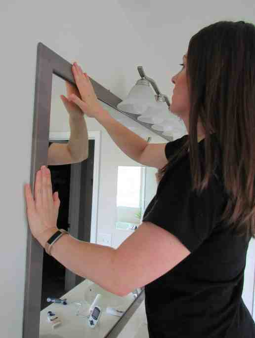 diy mirror frame over builder grade mirror