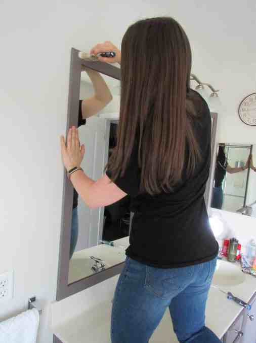 how to paint a mirror frame for a builder grade mirror