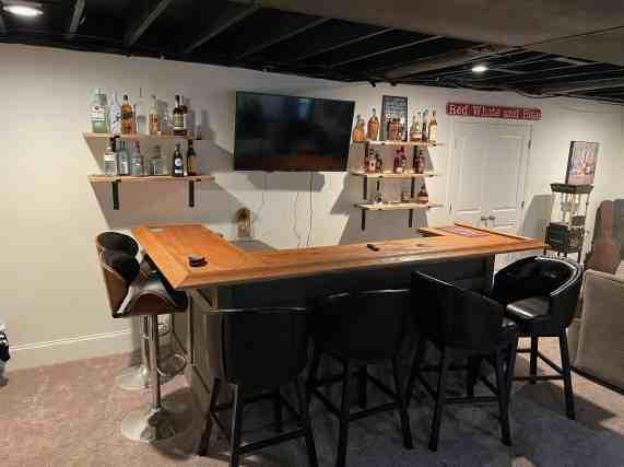open bar shelves, diy bar