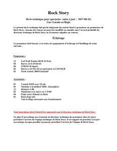 Devis technique pour spectacles - Une Console en Régie - (mise à jour : 2017-08-24)