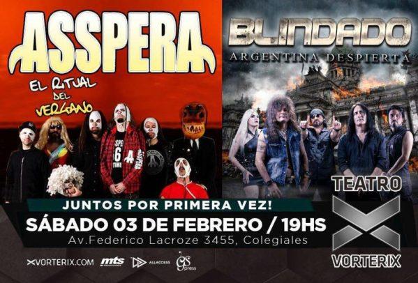 ASSPERA y BLINDADO en el teatro Vorterix, Buenos Aires @ Teatro  Vorterix | Buenos Aires | Argentina