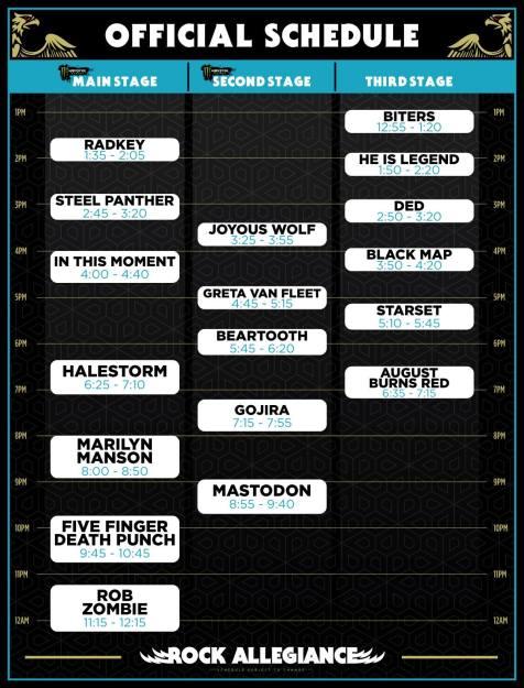 Rock Allegiance Schedule