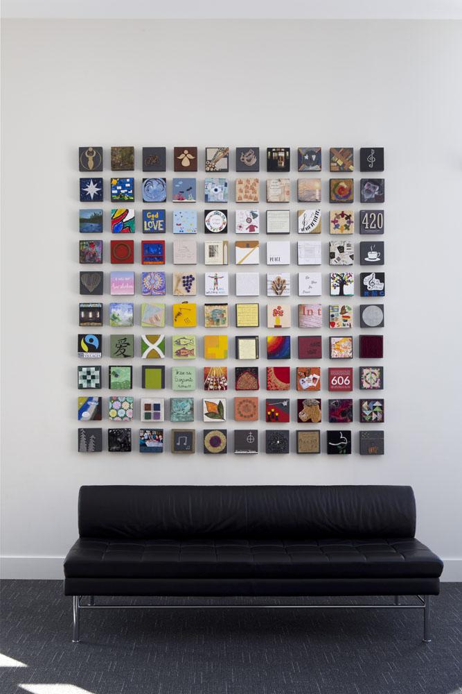 Tile artwork in foyer