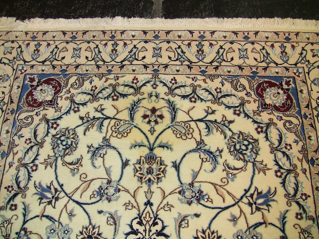 Vintage Persian Tabriz Area Rug Medium Size Blue
