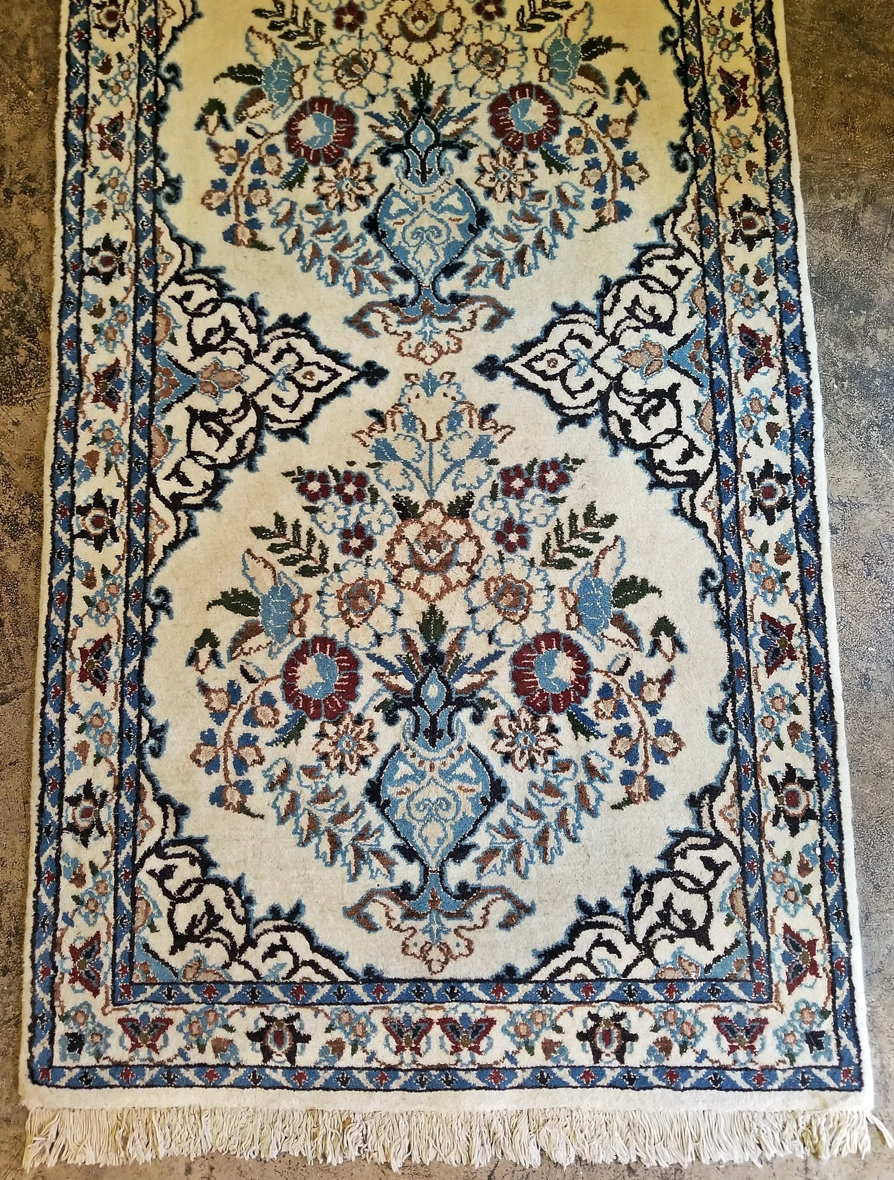 Vintage Persian Tabriz Runner Rug Signed Blue Burgundy