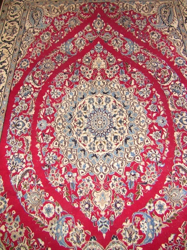 Vintage Persian Tabriz Area Rug Signed Red Blue Amp Cream