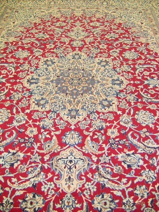 Large Persian Tabriz Area Rug With Red Blue And Cream