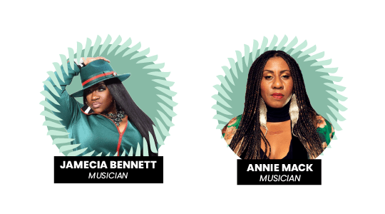 Headliners Jamecia Bennett and Annie Mack at the Pay Gap Festival 2021