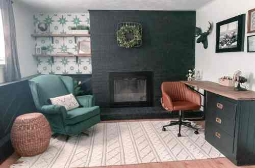 Boho guest room fireplace