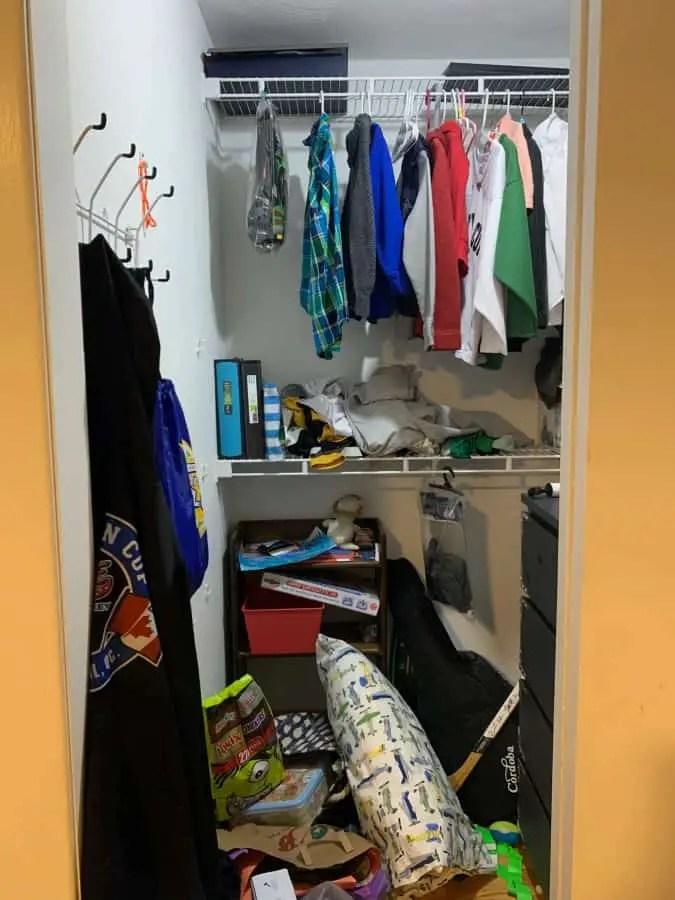 Before closet mess