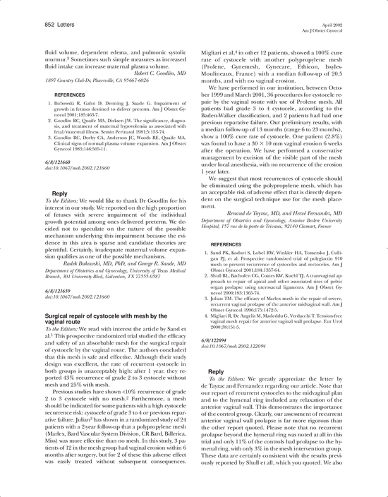 Le Meilleur Surgical Repair Of Cystocele With Mesh By The Vaginal Ce Mois Ci