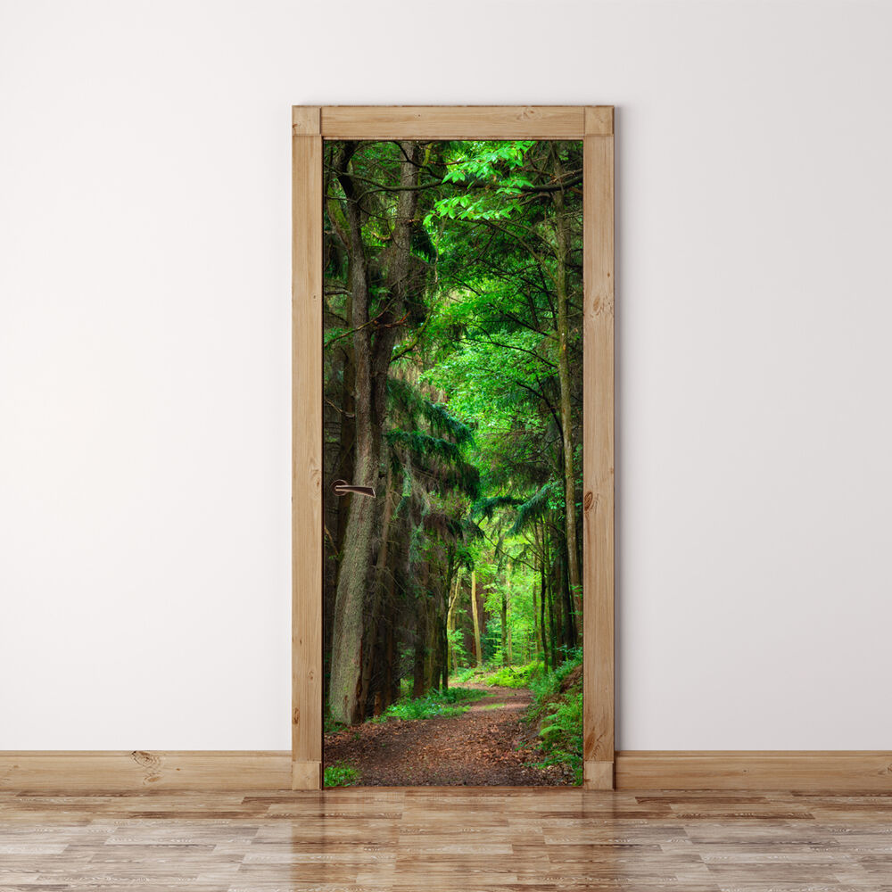 Le Meilleur Door Mural Scene In The Forest Self Adhesive Fabric Door Ce Mois Ci