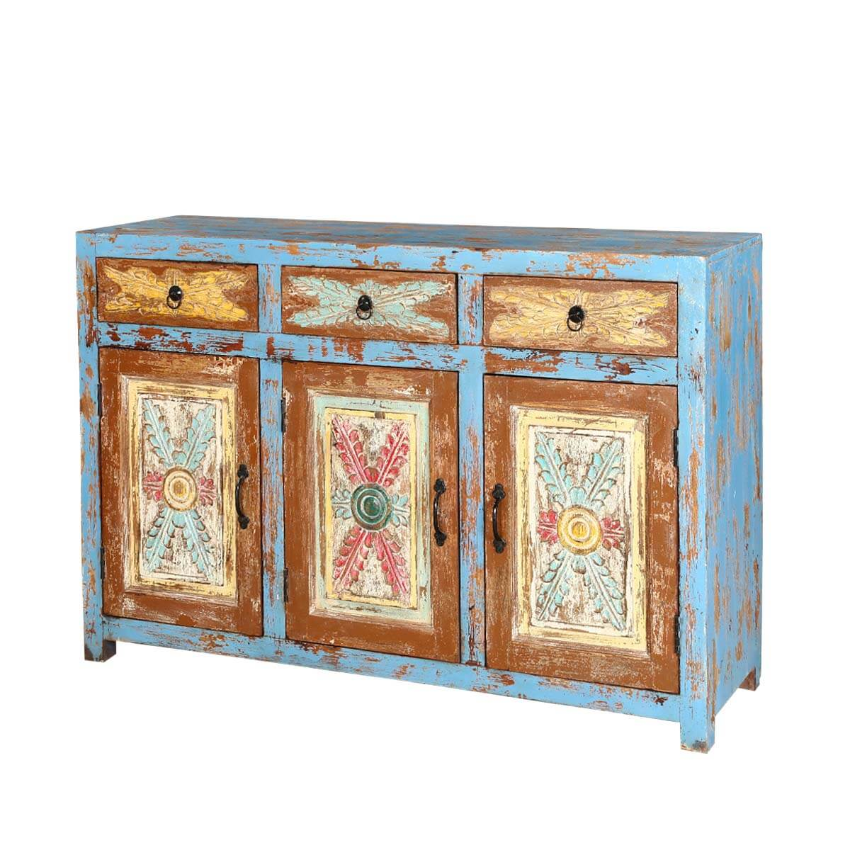 Le Meilleur Tangier 53 Rustic Light Blue 3 Door 3 Drawer Buffet Sideboard Ce Mois Ci