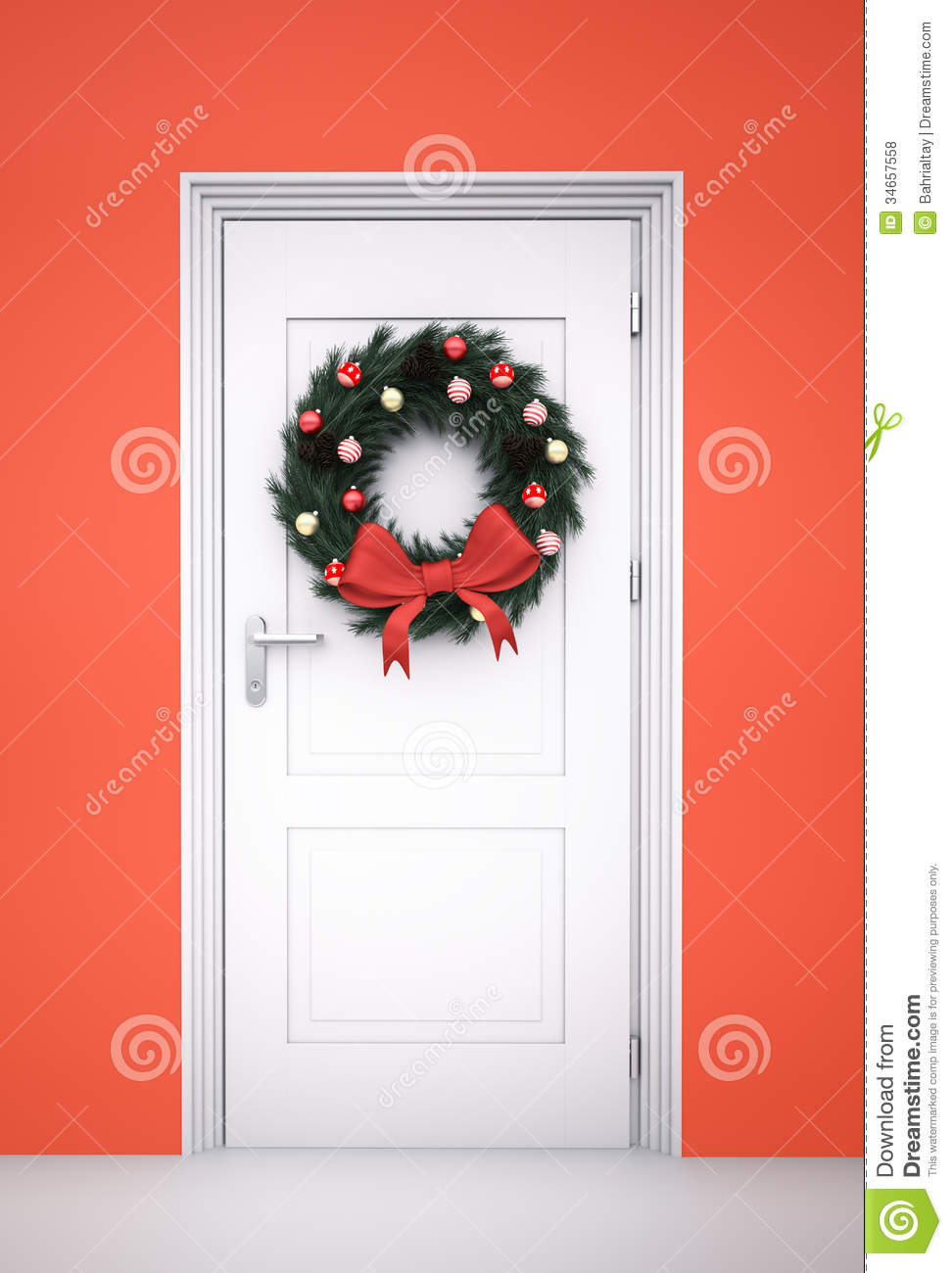 Le Meilleur Christmas Wreath On White Door Stock Photo Image Of Ce Mois Ci