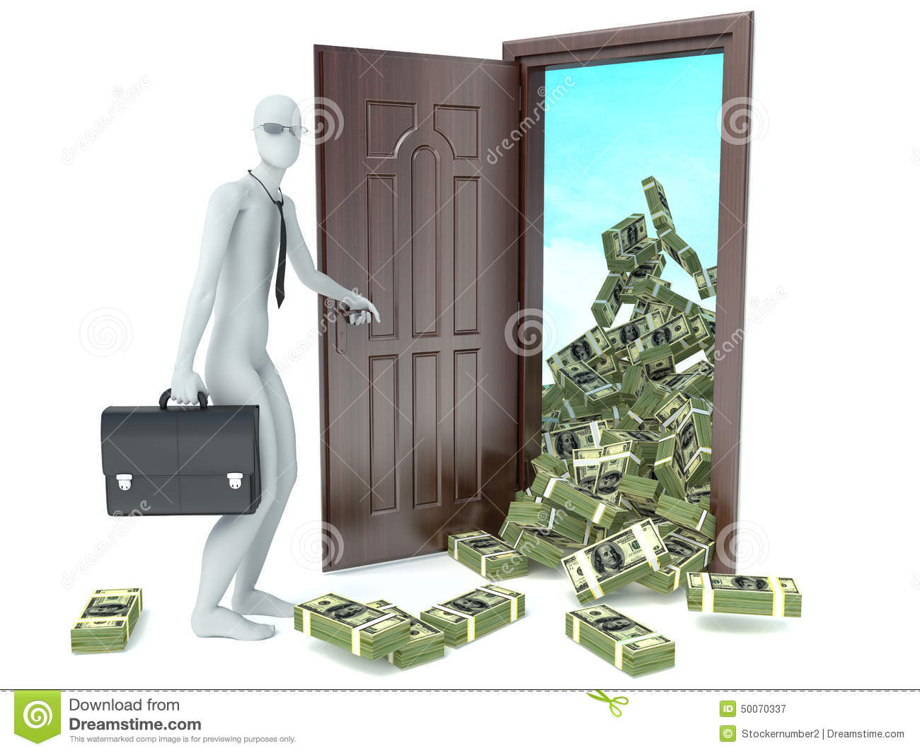 Le Meilleur 3D Man And Door With Money Concept Of Wealth Stock Ce Mois Ci