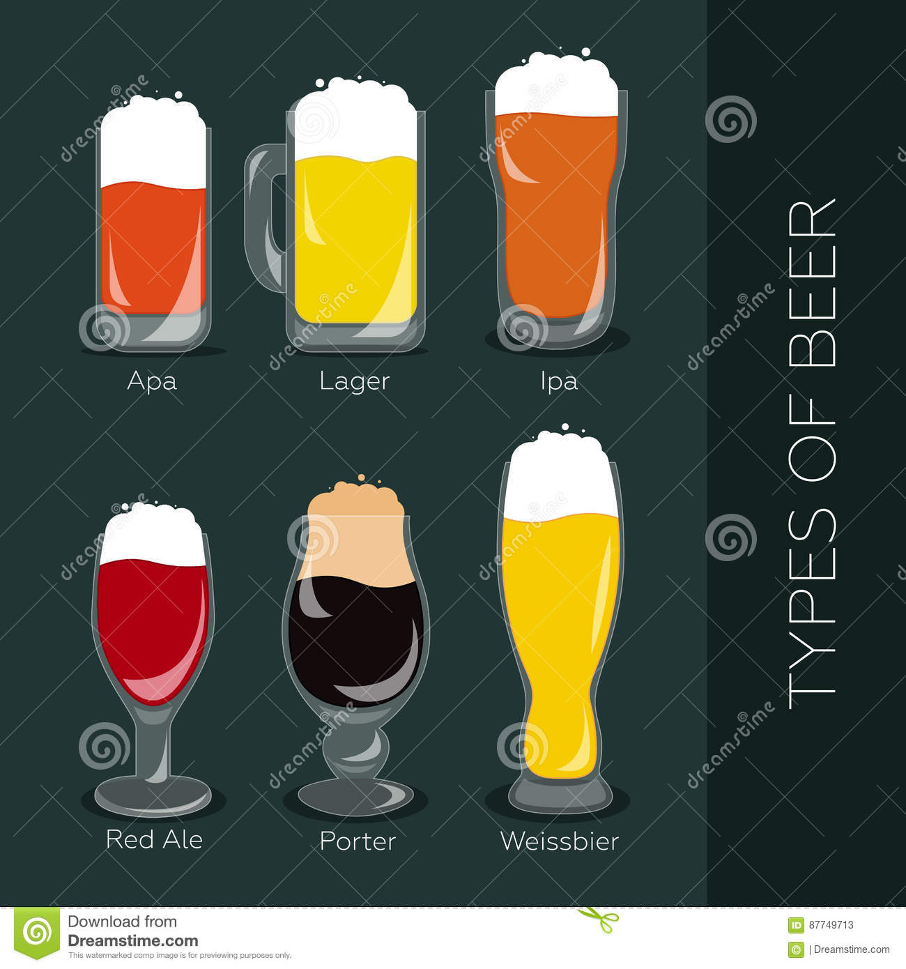 Le Meilleur Types Of Beer Stock Vector Illustration Of Graphic Ce Mois Ci