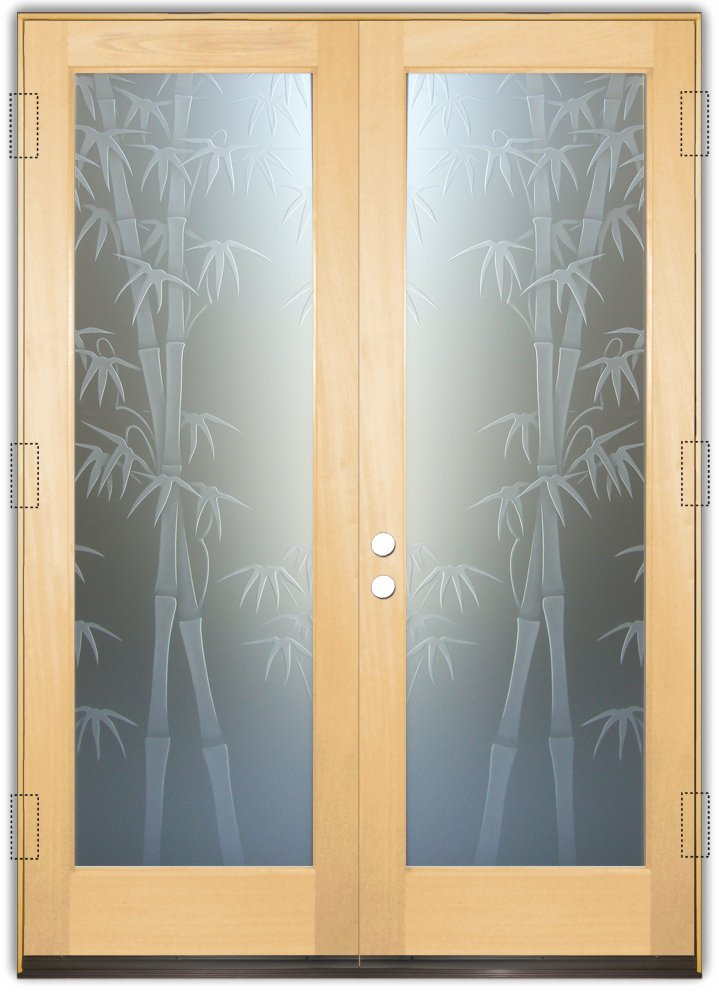 Le Meilleur Bamboo Shoots 3D Private Etched Glass Doors Asian Decor Ce Mois Ci