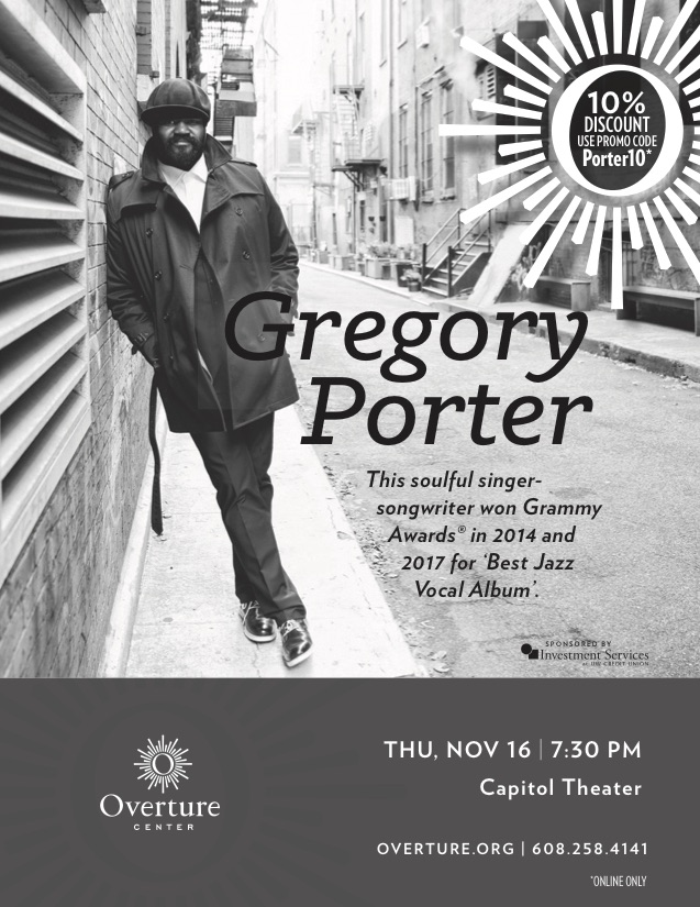 Le Meilleur November 16Th 2017 Gregory Porter Jazz In Madison Ce Mois Ci