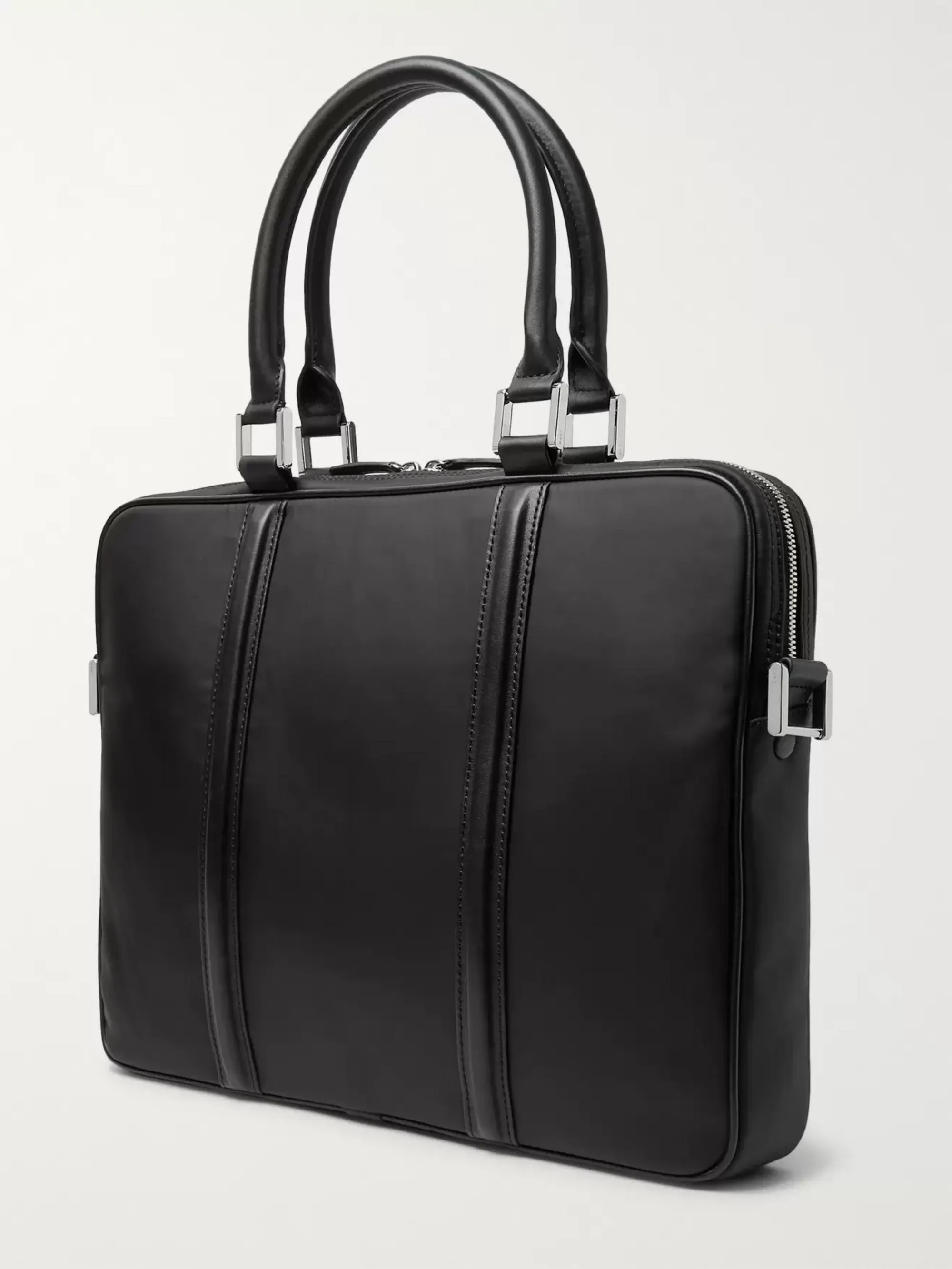 Le Meilleur Black Haneda Leather Trimmed Nylon Briefcase Want Les Ce Mois Ci