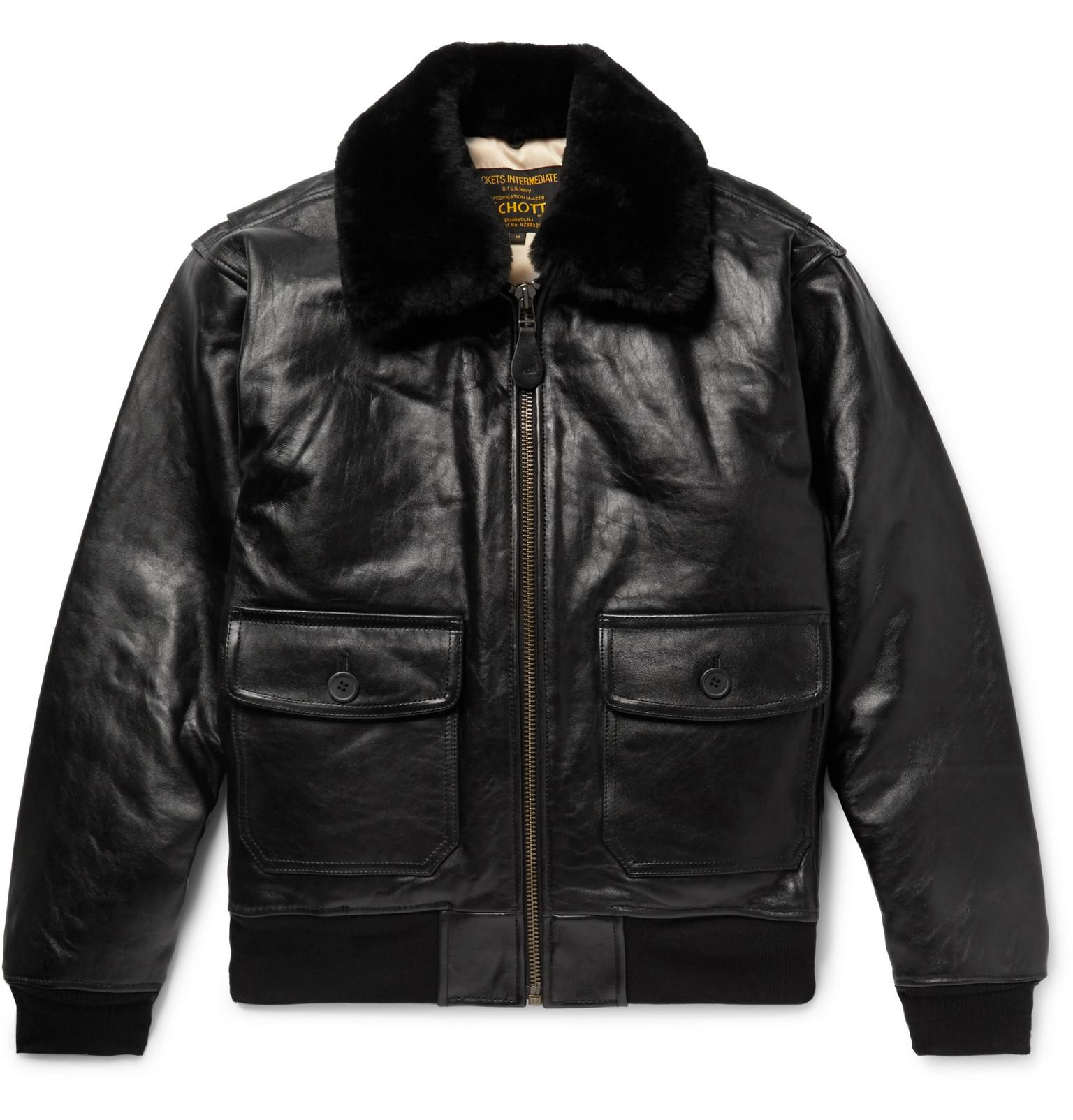 Le Meilleur Schott Nyc G 1 Shearling Trimmed Leather Bomber Jacket In Ce Mois Ci