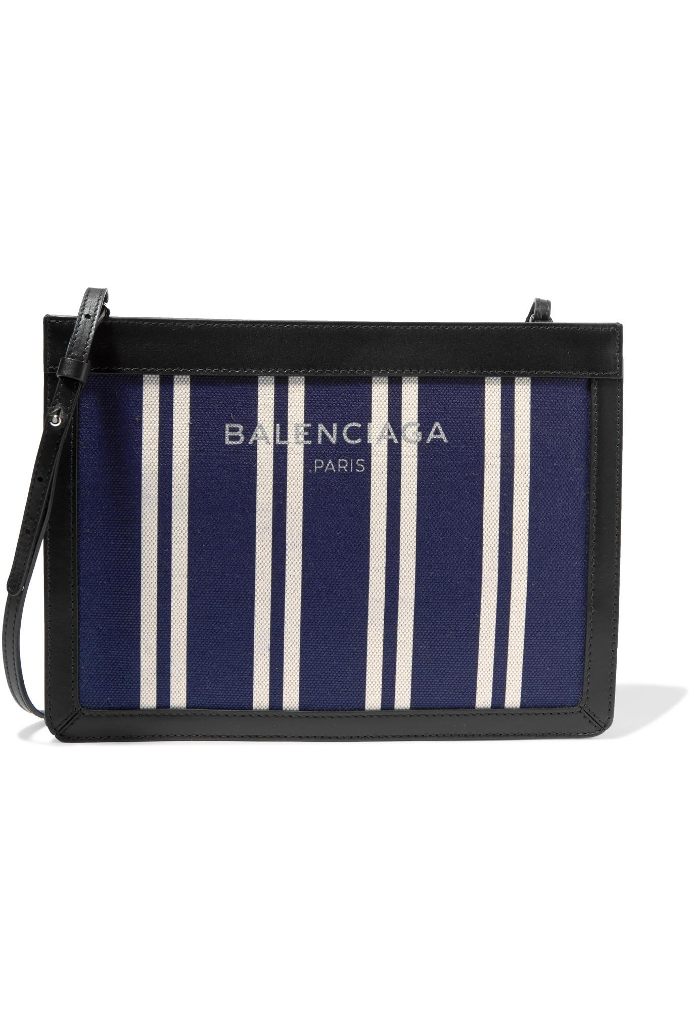 Le Meilleur Lyst Balenciaga Leather Trimmed Striped Canvas Shoulder Ce Mois Ci