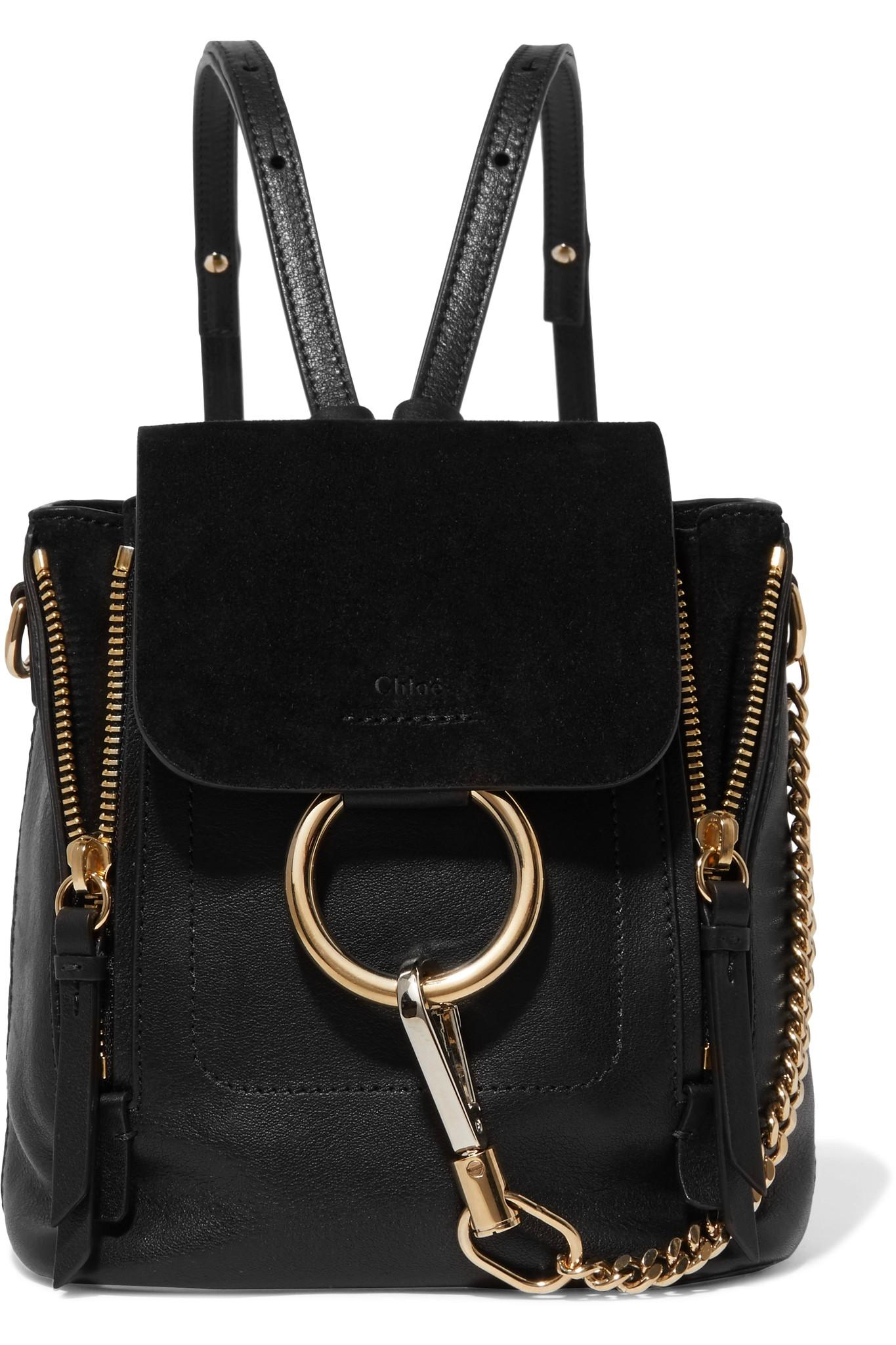 Le Meilleur Lyst Chloé Faye Mini Leather And Suede Backpack In Black Ce Mois Ci
