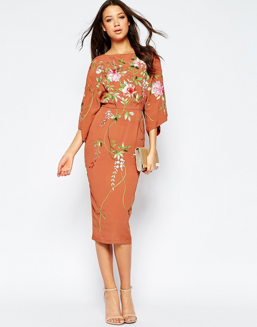 Le Meilleur Lyst Asos Tall Kimono Midi Dress With Embroidery In Red Ce Mois Ci