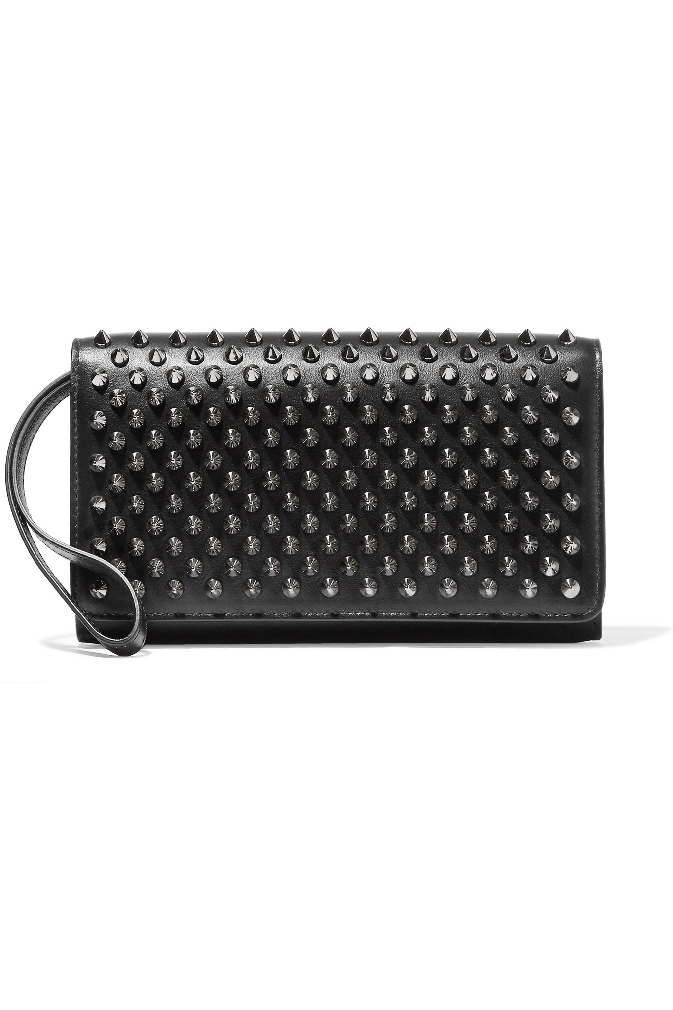 Le Meilleur Christian Louboutin Macaron Spiked Leather Wallet In Black Ce Mois Ci