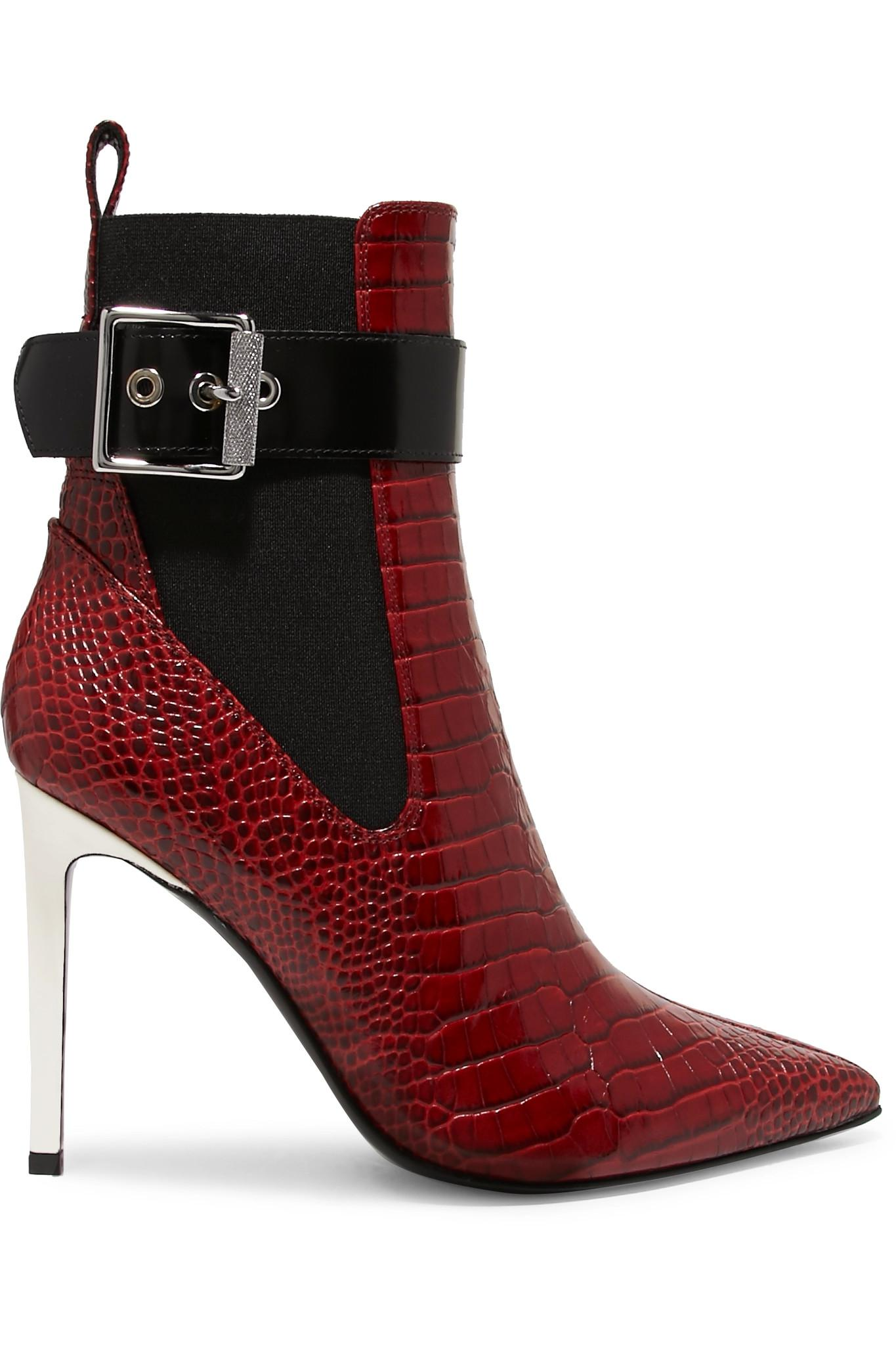 Le Meilleur Lyst Rag Bone Wren Buckled Croc Effect Leather Ankle Ce Mois Ci