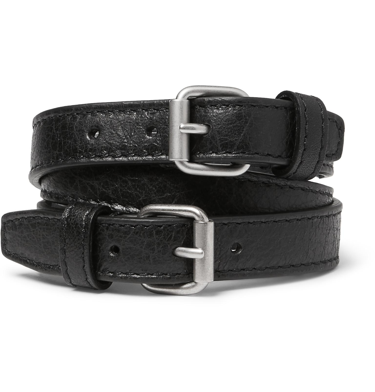 Le Meilleur Balenciaga Wrapped Creased Leather Bracelet In Black For Ce Mois Ci
