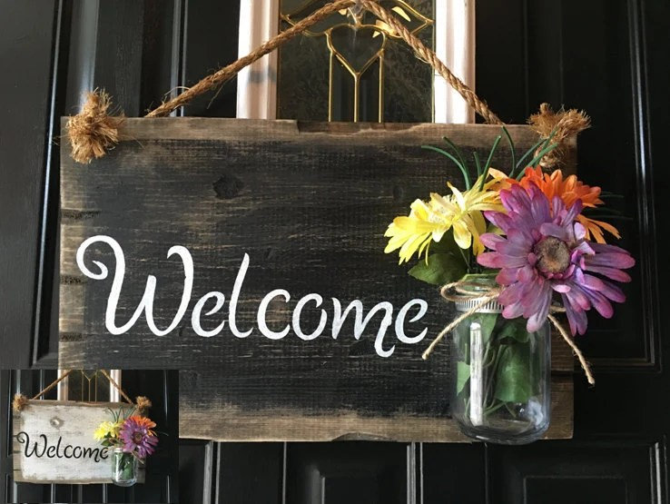 Le Meilleur Front Door Welcome Sign Front Porch Welcome Sign Rustic Wood Ce Mois Ci