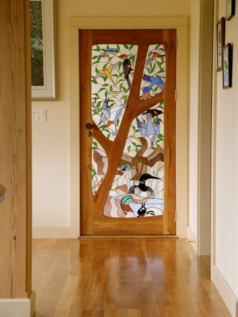 Le Meilleur Custom Stained Glass Door Birds By Janet Redfield Ce Mois Ci