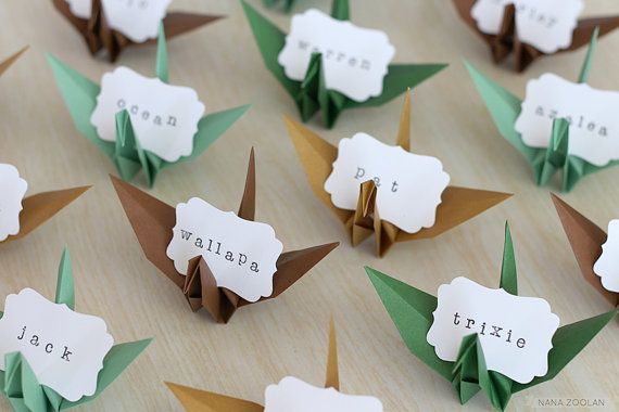 Le Meilleur Origami Crane Name Place Cards Paper Favors In Golden Ce Mois Ci