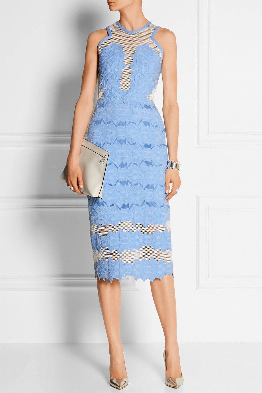 Le Meilleur Jonathan Simkhai Cotton Blend Brocade And Mesh Midi Ce Mois Ci