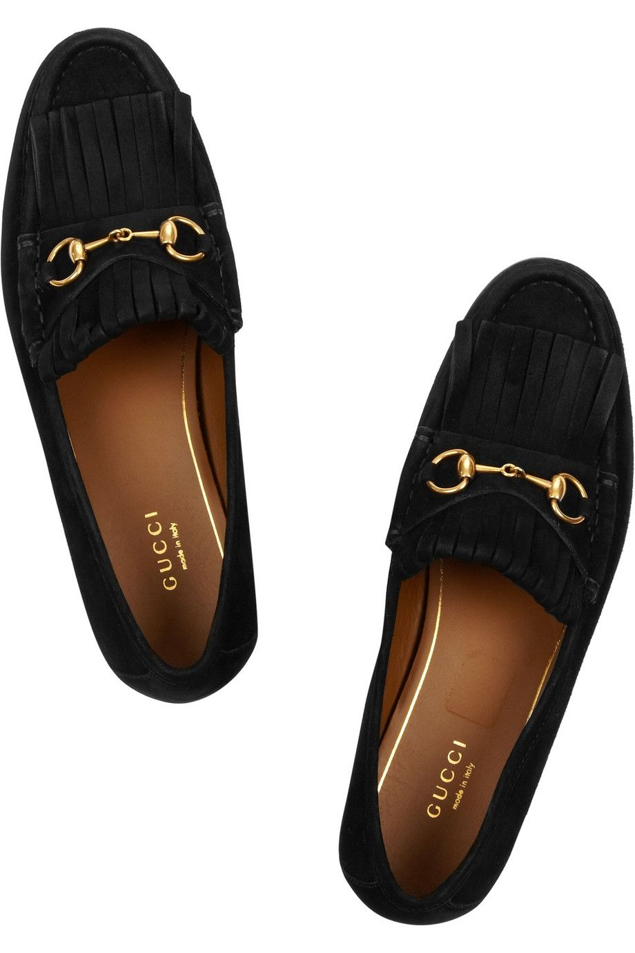 Le Meilleur Gucci Horsebit Detailed Fringed Suede Loafers Net A Ce Mois Ci