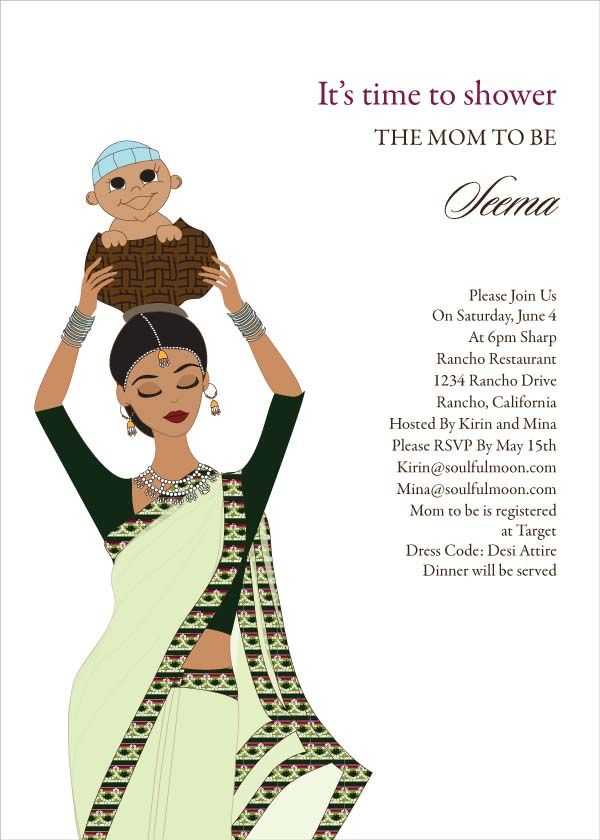 Le Meilleur Baby Carrier Indian Baby Shower Invitation By Ce Mois Ci