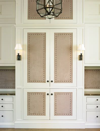 Le Meilleur Suede Paneled Doors With French Brass Tacks Upholstery Ce Mois Ci