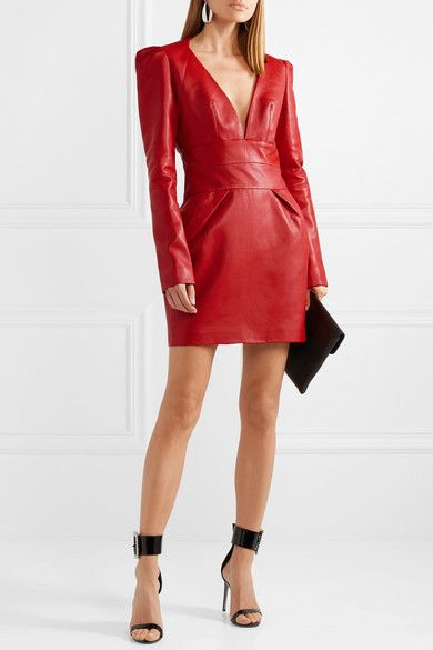 Le Meilleur Alexandre Vauthier Leather Mini Dress Net A Porter Com Ce Mois Ci