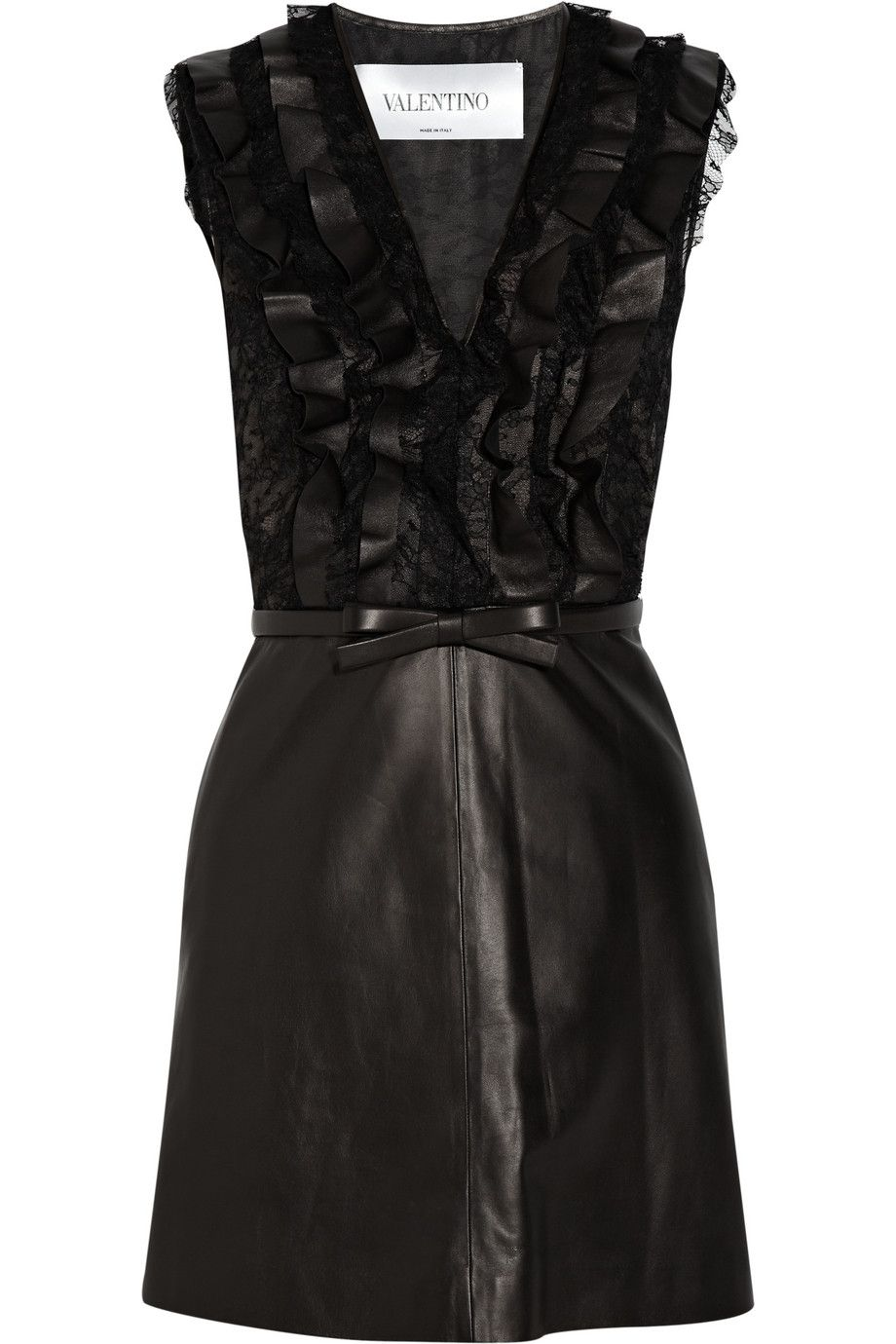 Le Meilleur Belted Leather And Lace Dress Valentino Net A Porter Com Ce Mois Ci