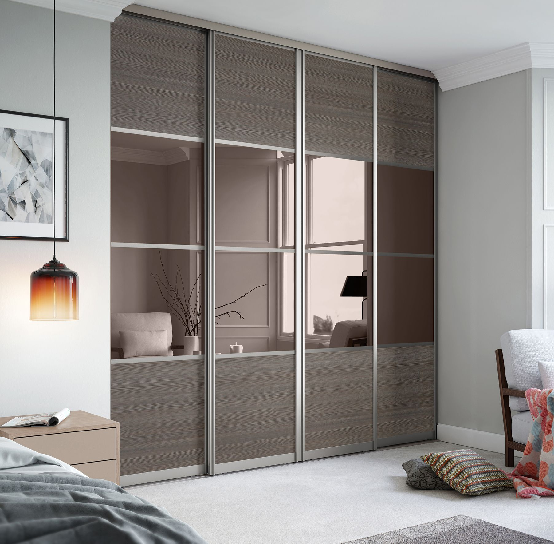 Le Meilleur Signature 4 Panel Sliding Wardrobe Doors In Wild Wood And Ce Mois Ci