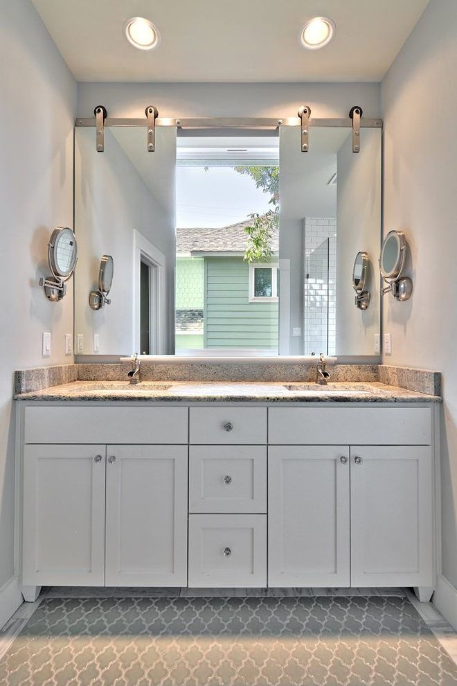 Le Meilleur Mirror Over Window Bathroom Transitional With Two Sinks Ce Mois Ci