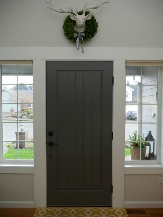 Le Meilleur Painted Front Door With Benjamin Moore Kendall Charcoal Ce Mois Ci