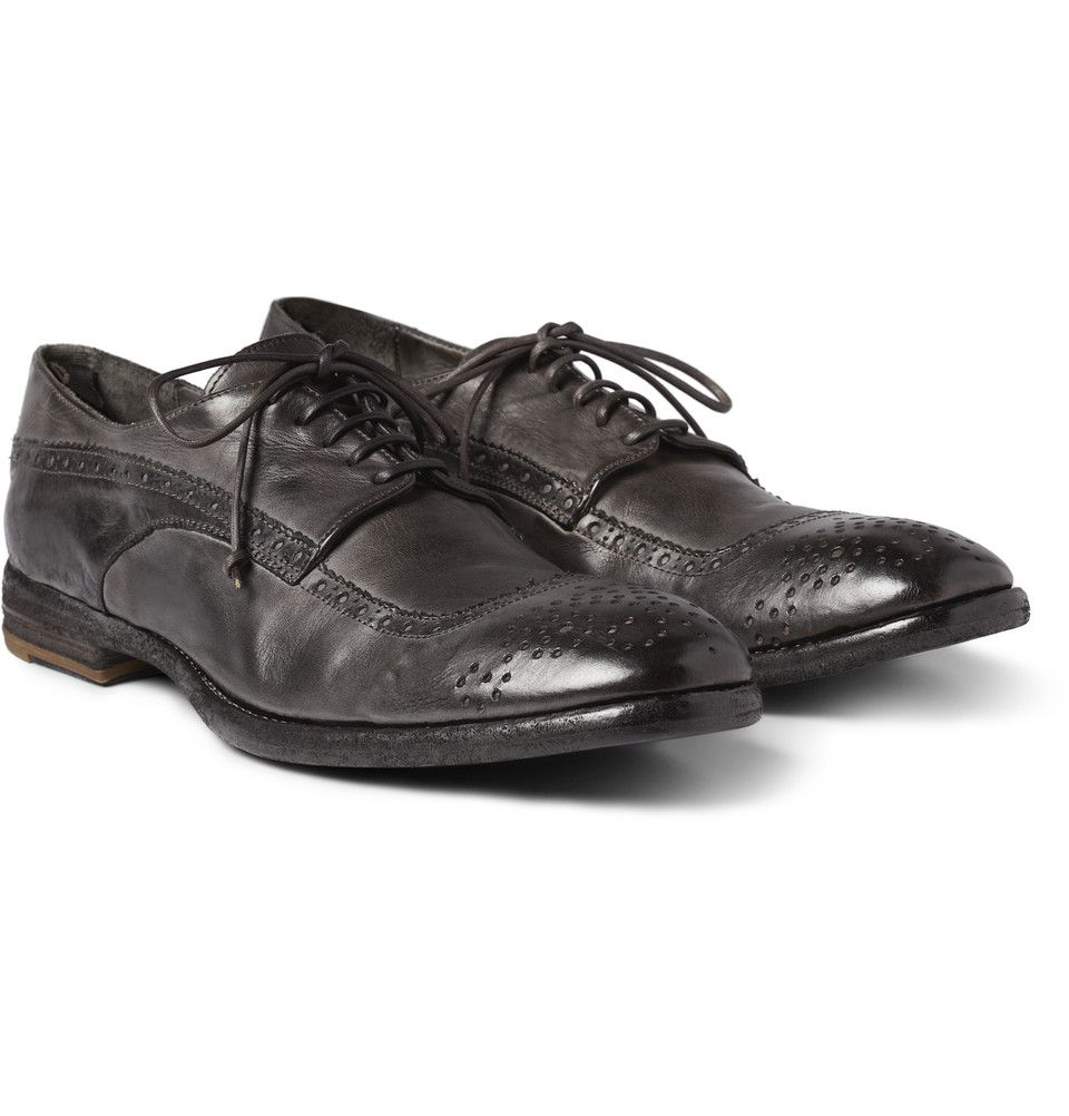 Le Meilleur Alexander Mcqueen Washed Leather Longwing Brogues Mr Ce Mois Ci