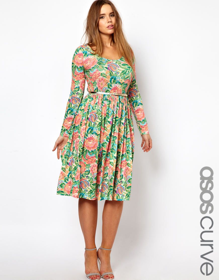 Le Meilleur Asos Curve Midi Dress In Pixulated Floral Plus Size Ce Mois Ci