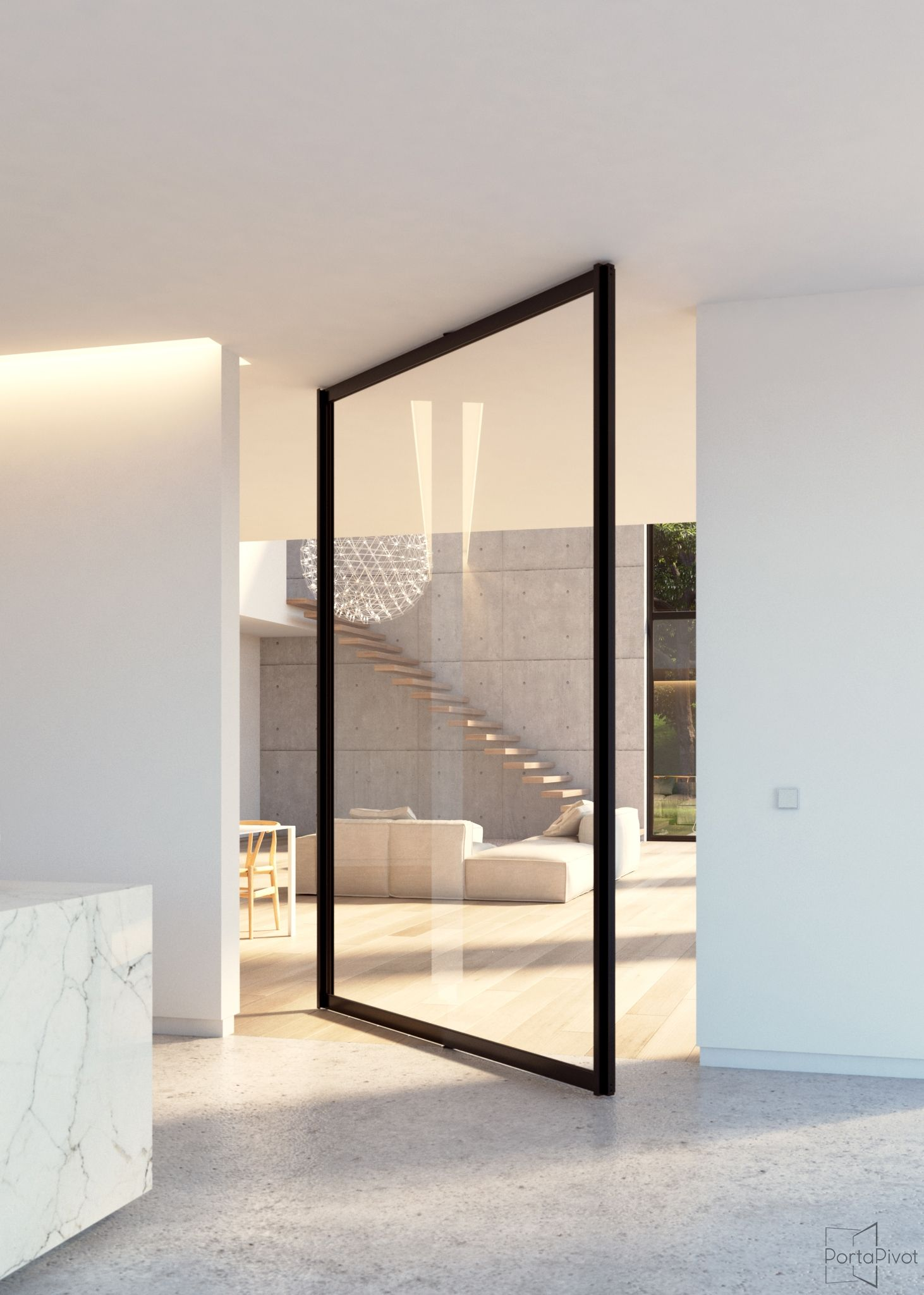 Le Meilleur Steel Look Glass Pivot Door With Central Axis Pivoting Ce Mois Ci