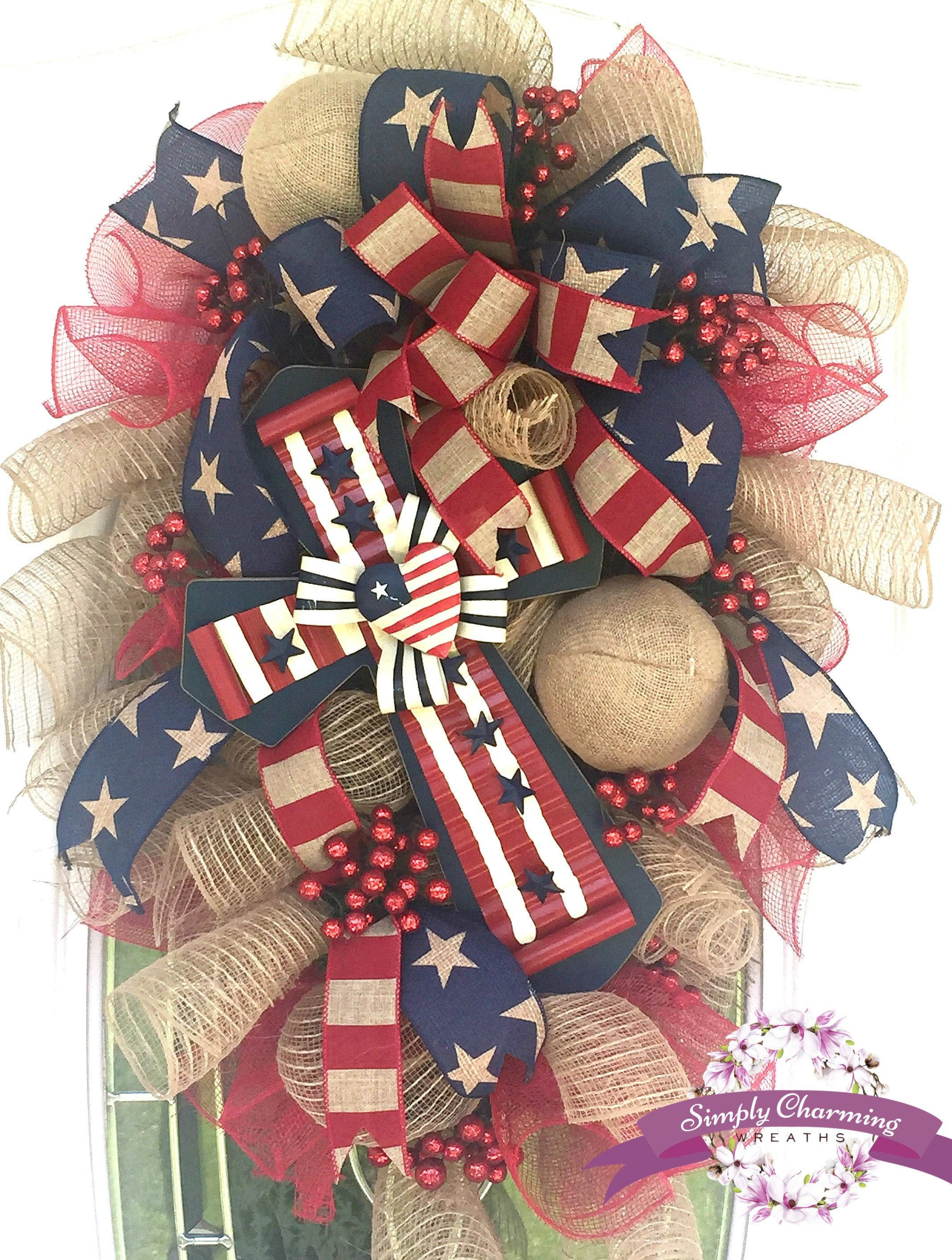 Le Meilleur 4Th Of July Patriotic Burlap Wreath Patriotic Swag Ce Mois Ci