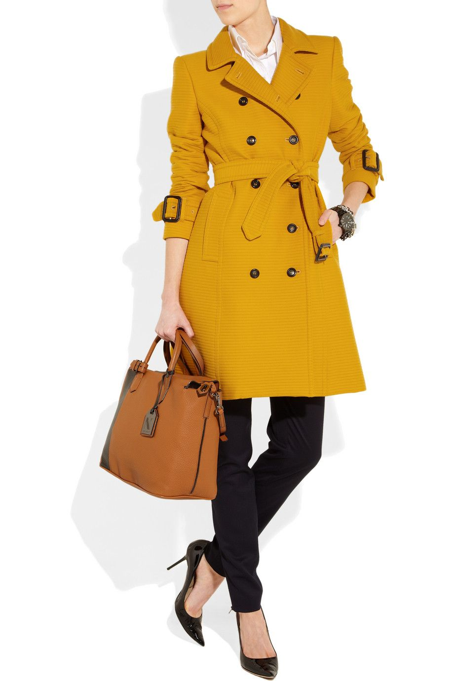 Le Meilleur Burberry London Ribbed Cotton And Wool Blend Trench Coat Ce Mois Ci