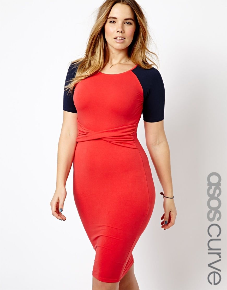 Le Meilleur Asos Curve Bodycon Dress With Twist Waist Plus Size Ce Mois Ci