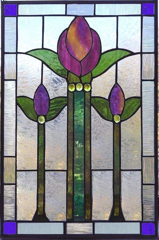 Le Meilleur Victorian Tulip Stained Glass Window Panel Glass Stained Ce Mois Ci
